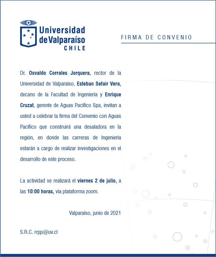 Ceremonia de firma convenio Aguas Pacífico - Universidad de Valparaíso